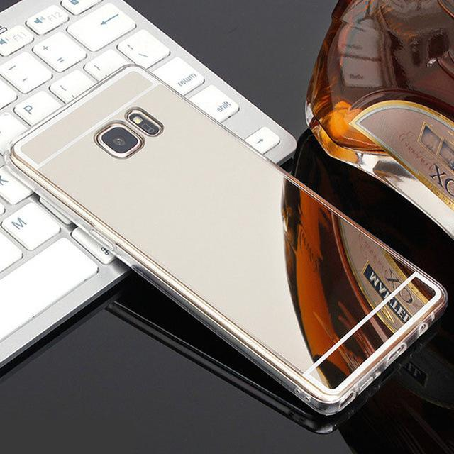 Phone Accessories Lux case Galaxy s7 Silver / For Samsung S7 Luxury Plating Mirror Case For Samsung Galaxy S7-S6 Edge-S5-S8-J5-J3 J7
