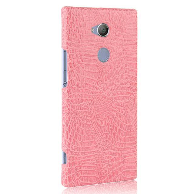 Phone Accessories Lux Case SONY XPERIA XA2 ULTRA pink / For Sony XA2 Case Luxury Retro Crocodile Leather Hard Cover For Sony Xperia XA2 Ultra Dual