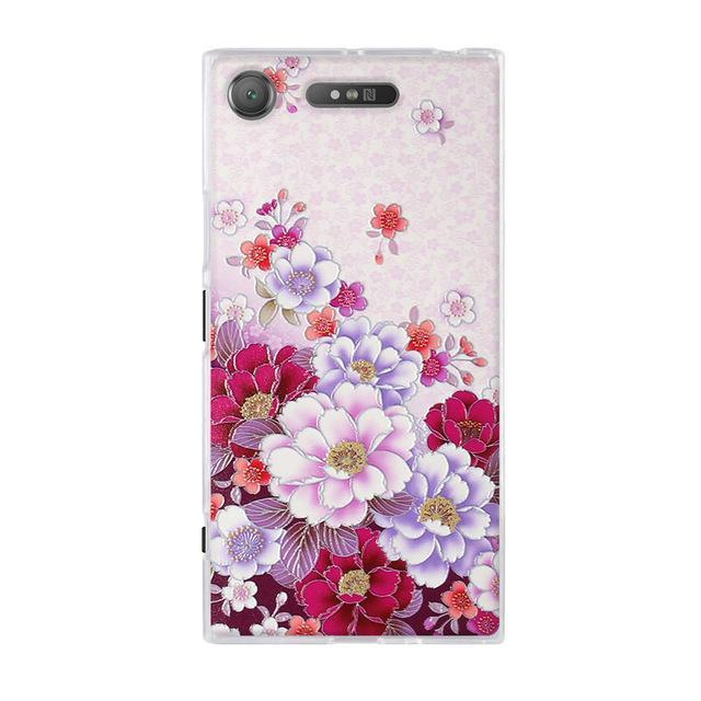 Phone Accessories Lux case SONY XPERIA XZ1 7 / TPU 3D Relief Painted Pattern Cover For Sony Xperia XZ1 Back Phone Cases
