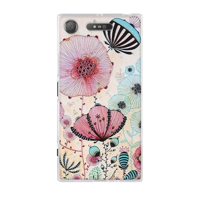 Phone Accessories Lux case SONY XPERIA XZ1 8 / TPU 3D Relief Painted Pattern Cover For Sony Xperia XZ1 Back Phone Cases