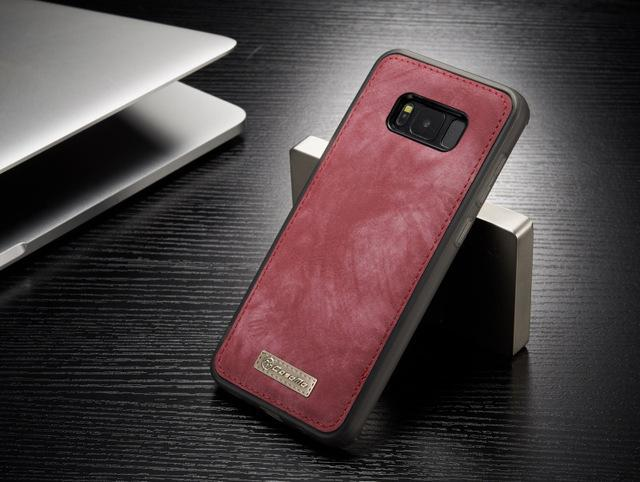 Phone Accessories Lux Galaxy s8 plus 008 red / For Samsung S8 Original Magnetic Vintage Leather + Soft TPU Silicon Back Cover Case For Samsung Galaxy S8/ S8 Plus