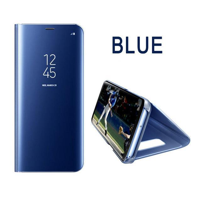 Phone Accessories Lux Galaxy s8 plus BLUE / A7 2018 Case Leather Flip Stand Mirror Case For Samsung Galaxy S8,Galaxy Note 8,Galaxy S6 edge,Galaxy S8 Plus,Galaxy S7 Edge,Galaxy S7,Galaxy S6