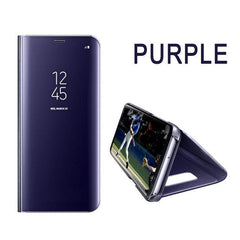 Phone Accessories Lux Galaxy s8 plus PURPLE / A7 2018 Case Leather Flip Stand Mirror Case For Samsung Galaxy S8,Galaxy Note 8,Galaxy S6 edge,Galaxy S8 Plus,Galaxy S7 Edge,Galaxy S7,Galaxy S6