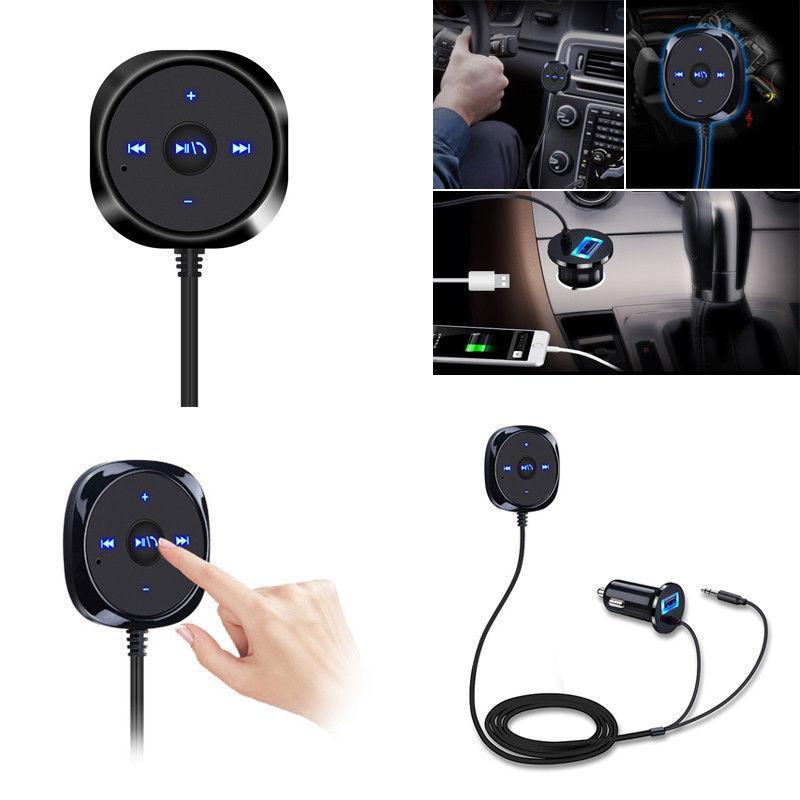 Phone Accessories Lux HANDS FREE KITS Support Siri Handsfree Wireless Bluetooth Car kit 3.5mm AUX Audio Music Receiver Player Hands free Speaker 2.1A USB Car Charger