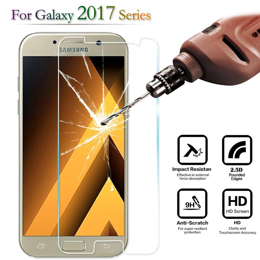 Phone Accessories Lux screen protection Galaxy a5 Tempered Glass Screen Protector For Samsung Galaxy A5 A7 2017