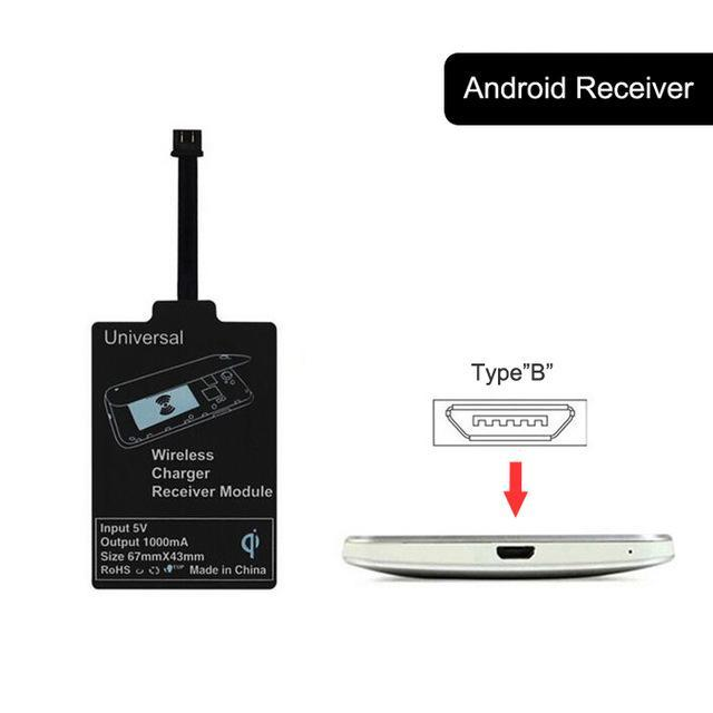 Phone Accessories Lux Wireless Chargers Type B OUDNEAS Universal Qi Wireless Charger Receiver for iPhone Adapter Receptor Receiver Pad Coil Android Phone Micro USB and Type C