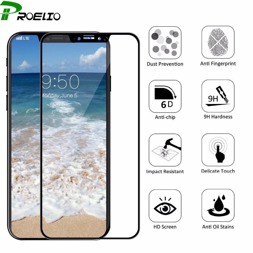 Phone Accessories Screen Protectors 6D 5D Curved for iPhone X 7 8 Plus Tempered Glass Full Cover Screen Protector