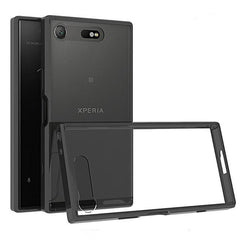 Phone Case and Accessories Case SONY XPERIA XZ1 COMPACT Black / PC + TPU Phone Case Ultra Thin Clear Hard Acrylic Back Cover Case For Sony XZ1 Compact