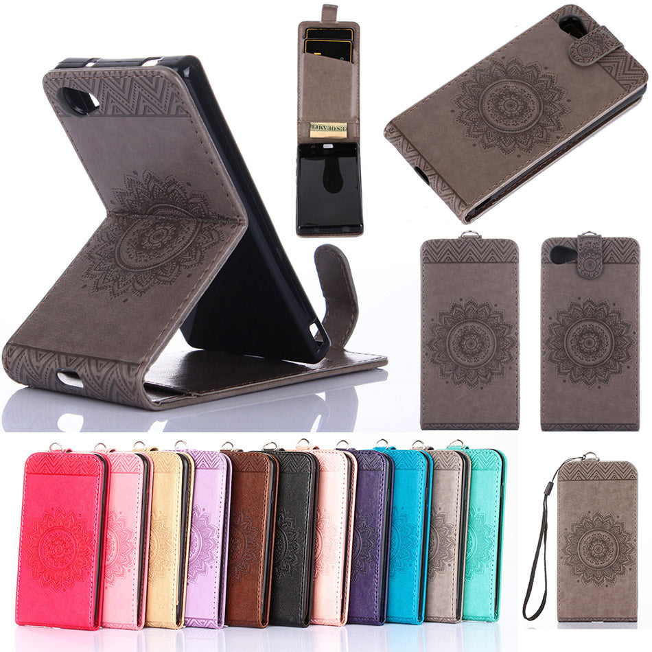 Stand Vertical Leather Phone Case For Sony Xperia X Performance