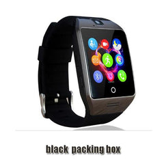 Smartwatch Smartwatch black packing box Free shipping- Passometer Smart watch with Touch Screen camera TF card,Bluetooth smartwatch for Android IOS Phone