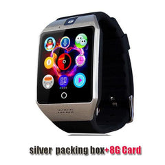 Smartwatch Smartwatch silver 8G card Free shipping- Passometer Smart watch with Touch Screen camera TF card,Bluetooth smartwatch for Android IOS Phone