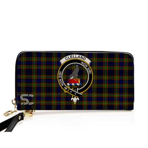 Image of Clelland Modern  Crest Tartan Zipper Wallet