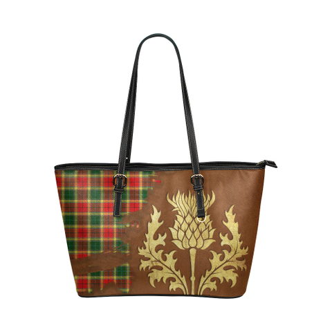 Gibbs Tartan - Thistle Royal Leather Tote Bag