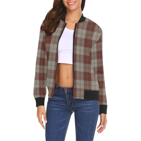 Cunningham Burgundy Dancers Tartan Bomber Jacket | Scottish Jacket | Scotland Clothing