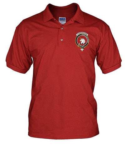 Cunningham Tartan Polo Shirt In Me Clan Badge K7