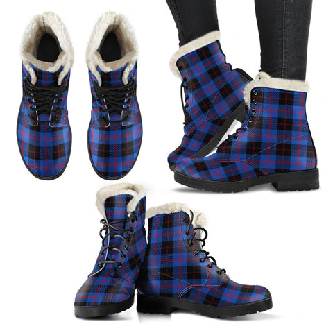 Angus Modern Tartan Faux Fur Leather Boots