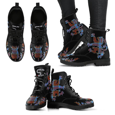 Anderson Modern Tartan Leather Boots Lion And Thistle