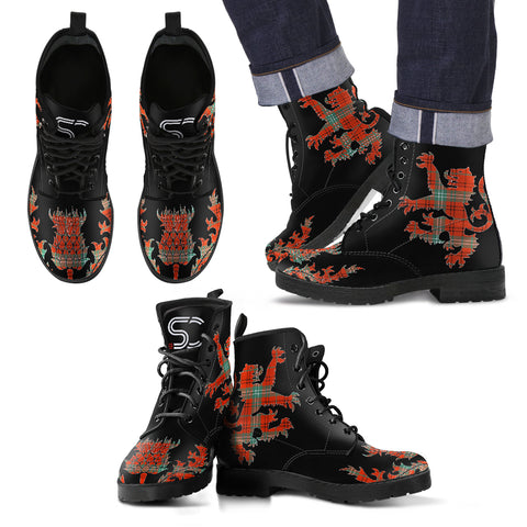 Morrison Red Ancient Tartan Leather Boots Lion And Thistle TH8