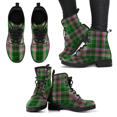 Gray Hunting Tartan Leather Boots A9