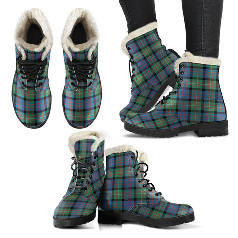 Macdonnell Of Glengarry Ancient Tartan Faux Fur Leather Boots