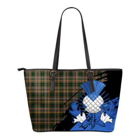 Buchanan Hunting Leather Tote Bag Small | Tartan Bags