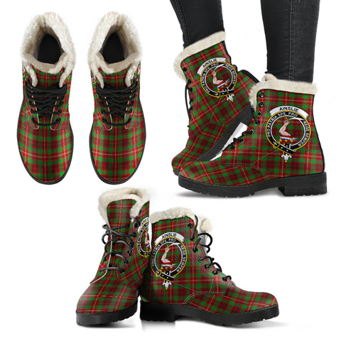 Ainslie  Tartan Faux Fur Leather Boots
