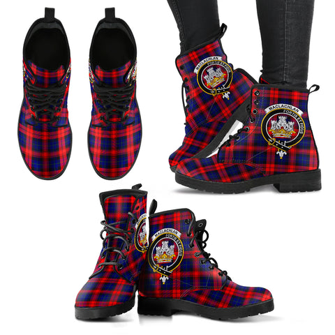 MacLachlan Modern Tartan Clan Badge Leather Boots A9