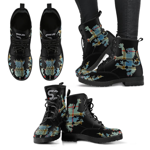 Balfour Blue Tartan Leather Boots Lion And Thistle