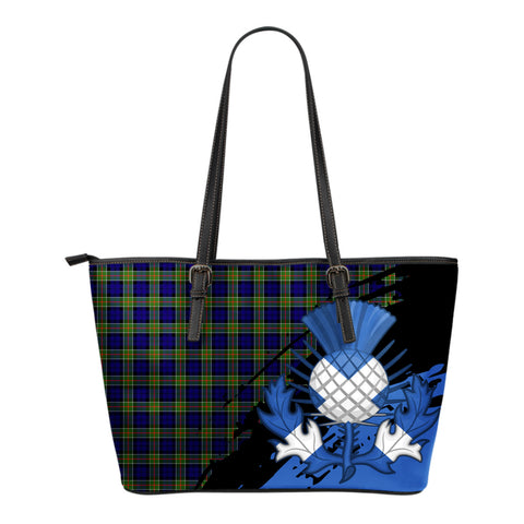 Colquhoun Modern Leather Tote Bag Small | Tartan Bags