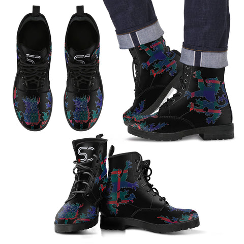 Agnew Modern Tartan Leather Boots Lion And Thistle TH8