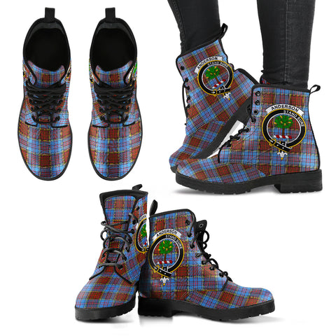Anderson Modern Tartan Clan Badge Leather Boots A9