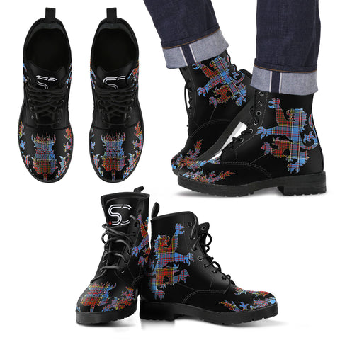Anderson Modern Tartan Leather Boots Lion And Thistle TH8