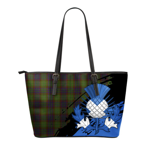 Cunningham Hunting Modern Leather Tote Bag Small | Tartan Bags