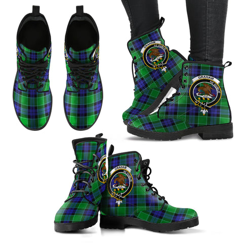 Graham of Menteith Modern Tartan Clan Badge Leather Boots A9