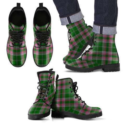Gray Hunting Tartan Leather Boots Footwear Shoes
