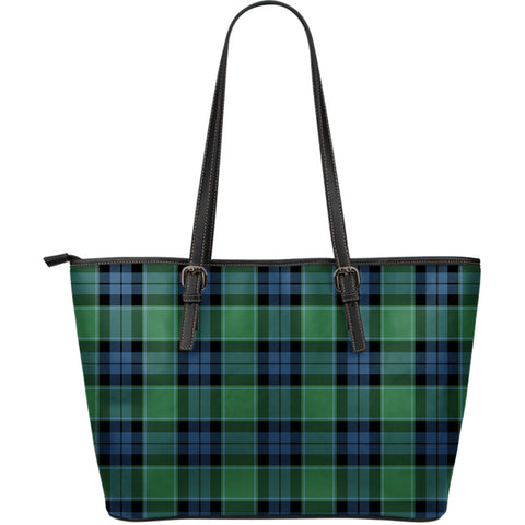Image of Graham of Menteith Ancient Tartan Leather Tote Bag (Large) | Over 500 Tartans | Special Custom Design