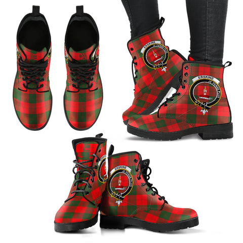 Erskine Modern Tartan Clan Badge Leather Boots A9