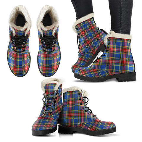 Image of Macbeth Modern Tartan Faux Fur Leather Boots