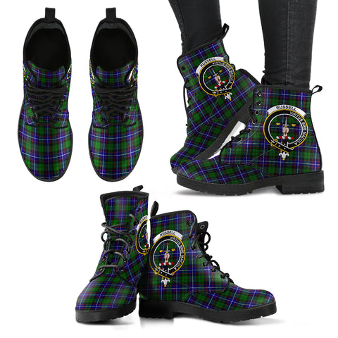 Russell Tartan Clan Badge Leather Boots A9