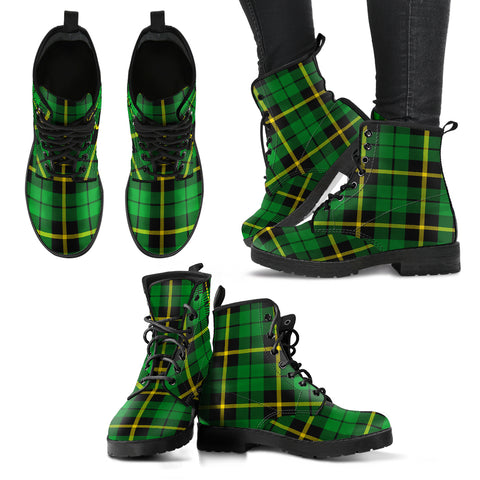 Image of Wallace Hunting - Green Tartan Leather Boots A9