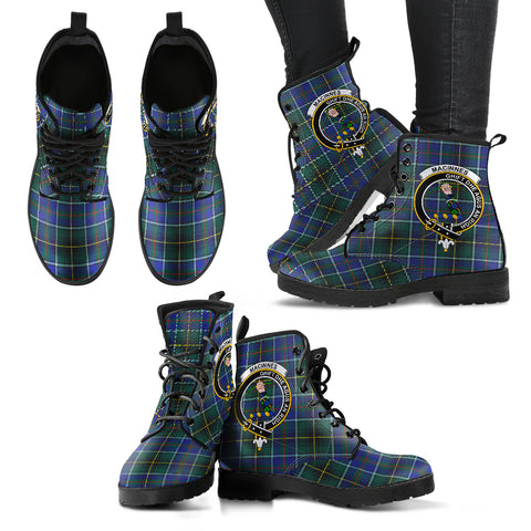 MacInnes Modern Tartan Clan Badge Leather Boots A9