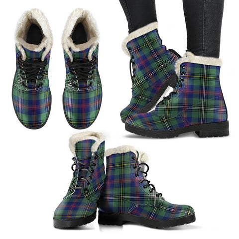 Wood Modern Tartan Faux Fur Leather Boots