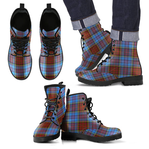 Image of Anderson Modern Tartan Leather Boots Footwear Shoes