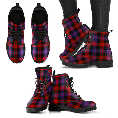 Brown Modern Tartan Leather Boots A9