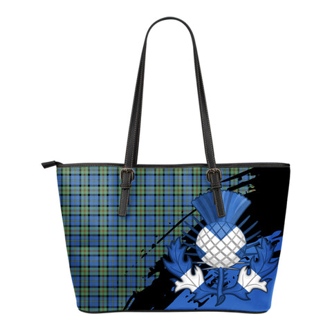 MacLeod of Harris Ancient  Leather Tote Bag Small | Tartan Bags