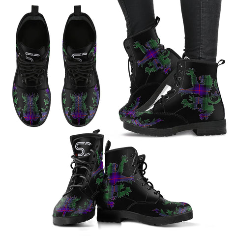 Armstrong Modern Tartan Leather Boots Lion And Thistle