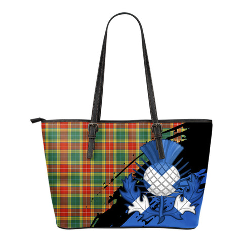 Buchanan Old Sett Leather Tote Bag Small | Tartan Bags