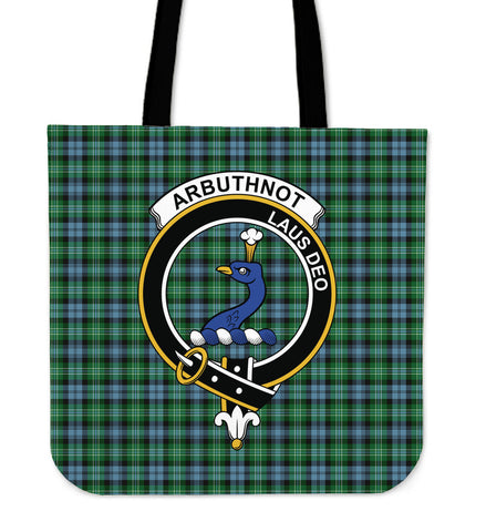 Tartan Tote Bag - Arbuthnott Clan Badge | Special Custom Design