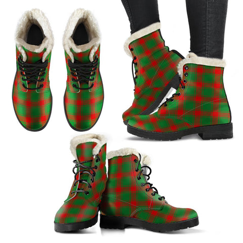 Image of Middleton Modern Tartan Faux Fur Leather Boots