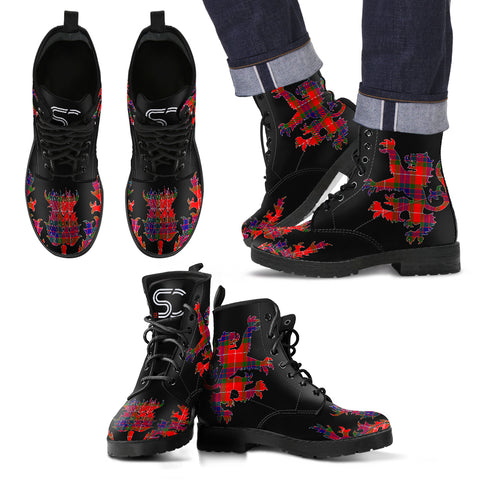 Fraser Modern Tartan Leather Boots Lion And Thistle TH8